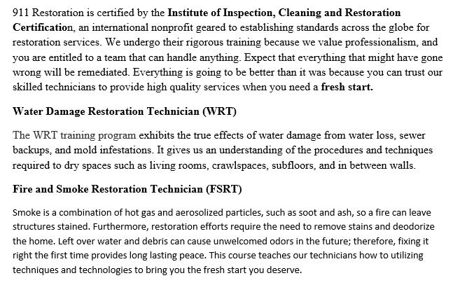 911 Restoration Certificates